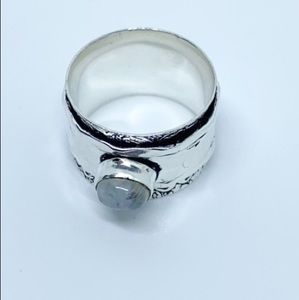 Jewelry - Moonstone Sterling Silver Spinner Ring Cigar Band